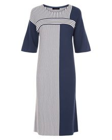 Jaeger Block Stripe Knitted Dress