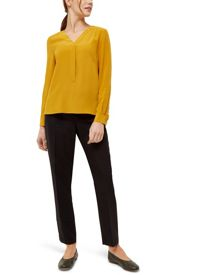 Jaeger Silk Pleated V Neck Blouse