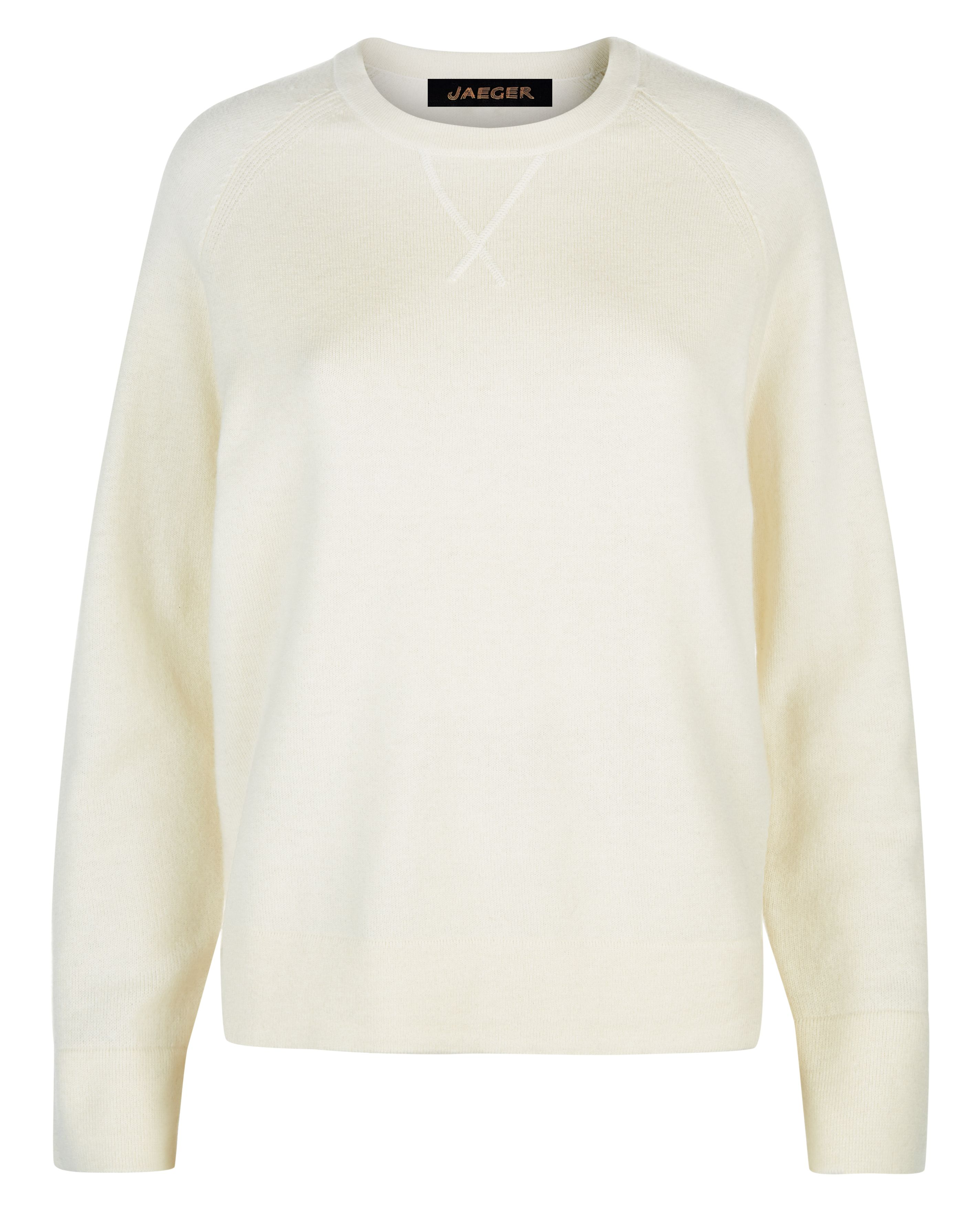 Jaeger Wool Crew Neck Sweater, White