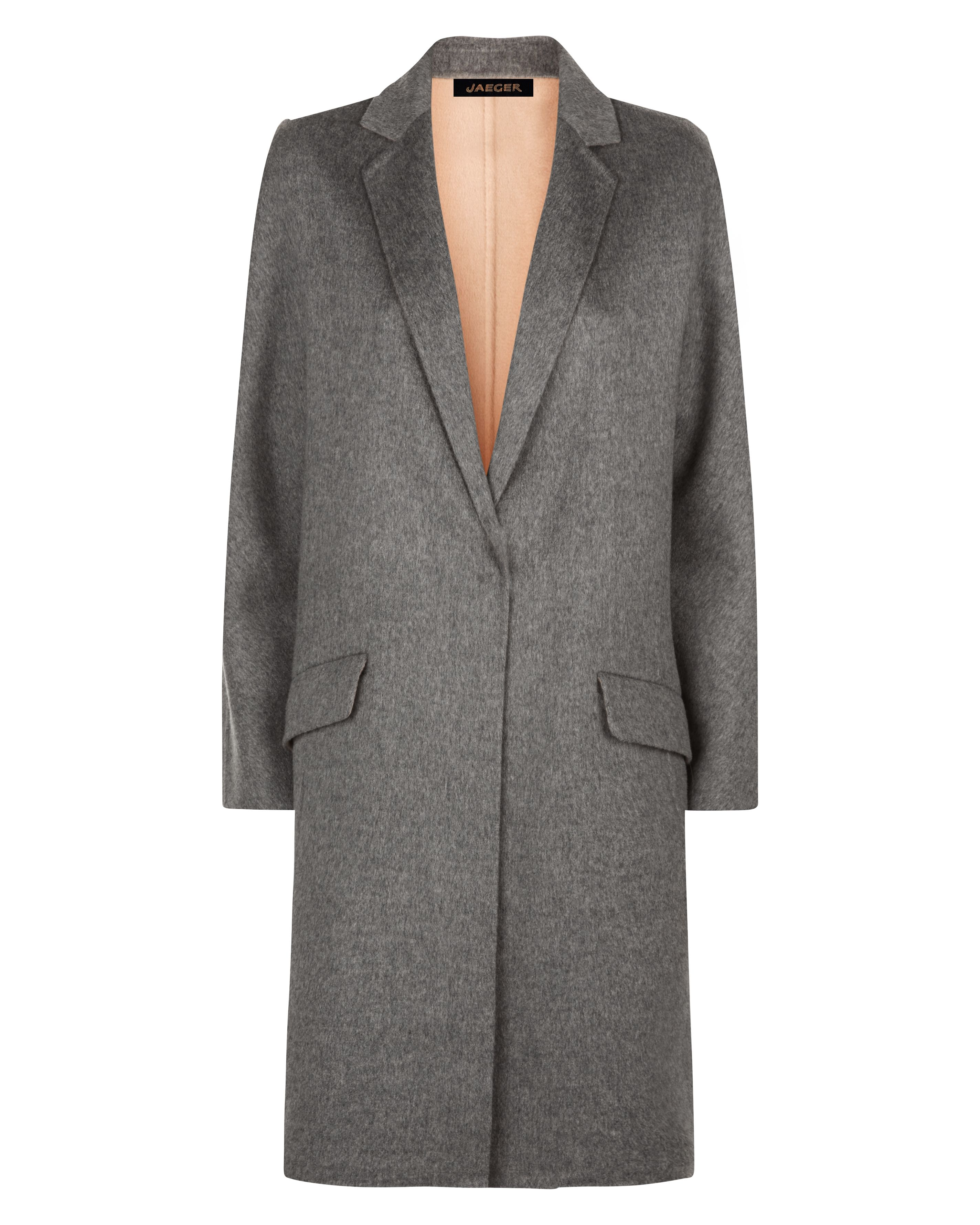 Jaeger Wool Double-Faced Angled Coat, Grey