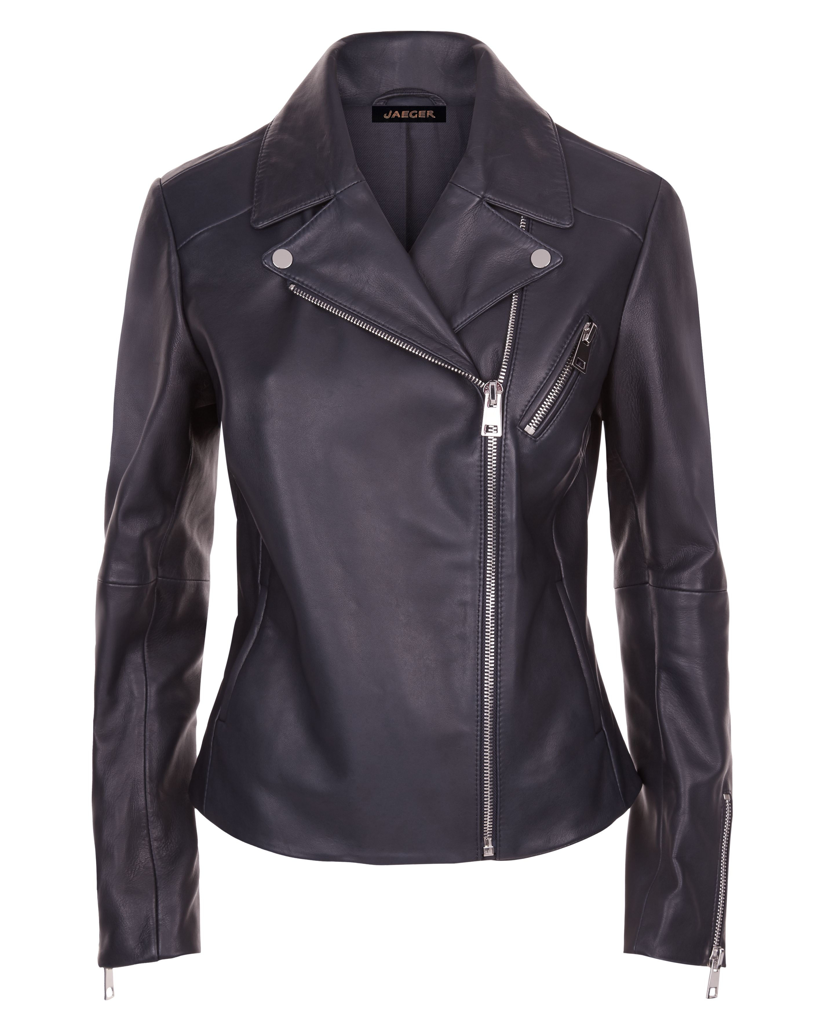Jaeger Leather Biker Jacket, Blue