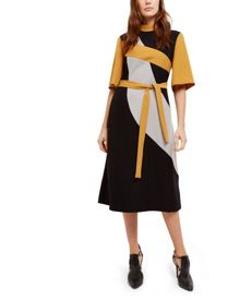 Jaeger Fit-and-Flare Panel Dress
