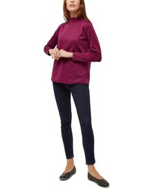 Jaeger Top-Stitch Funnel Neck Top