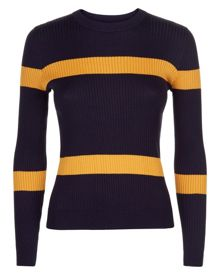 Jaeger Ribbed Stripe Cropped Sweater