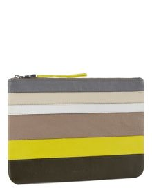 Jaeger Leather Stripe Panel Clutch