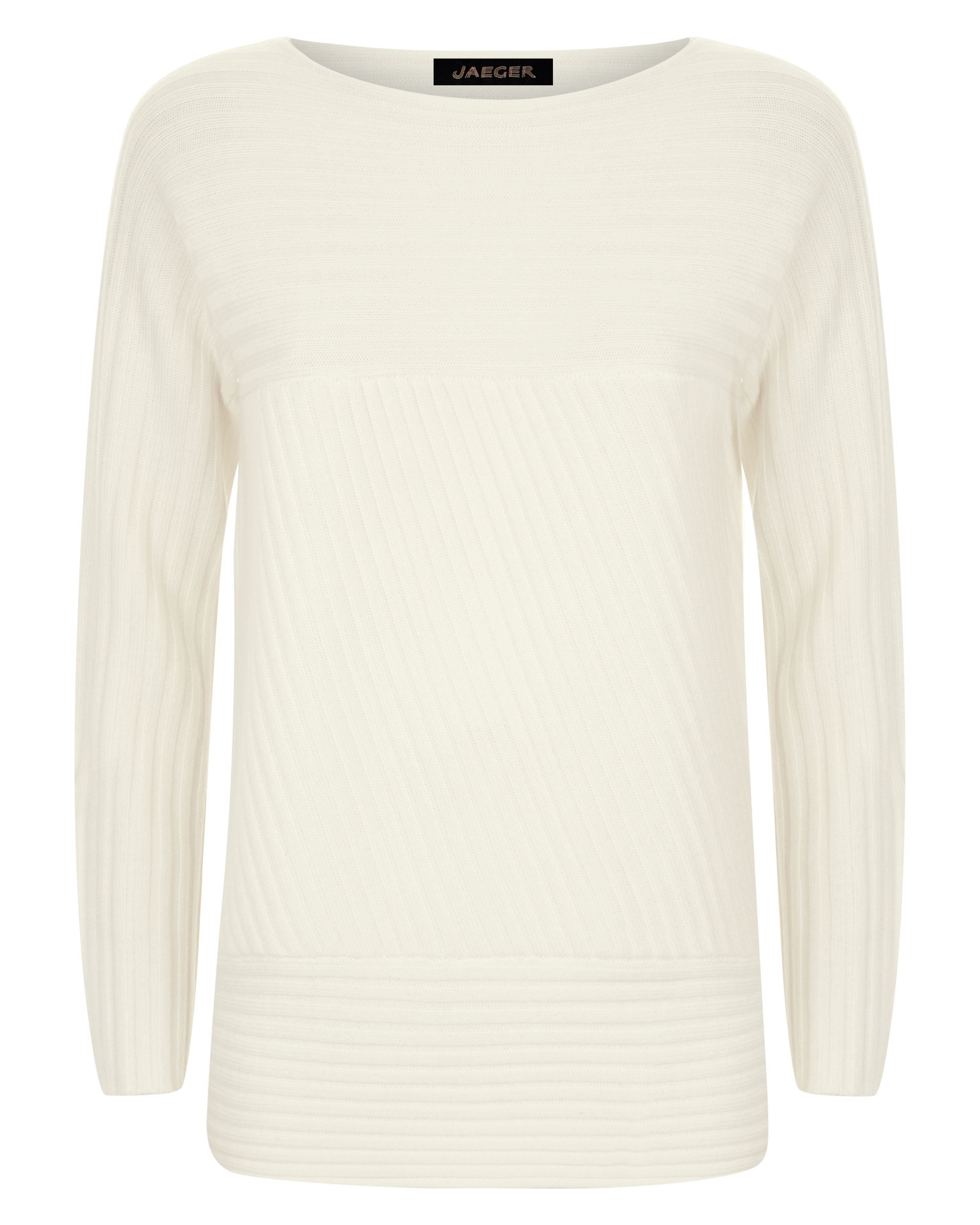 Jaeger Wool Contrast Ribbed Sweater, White.