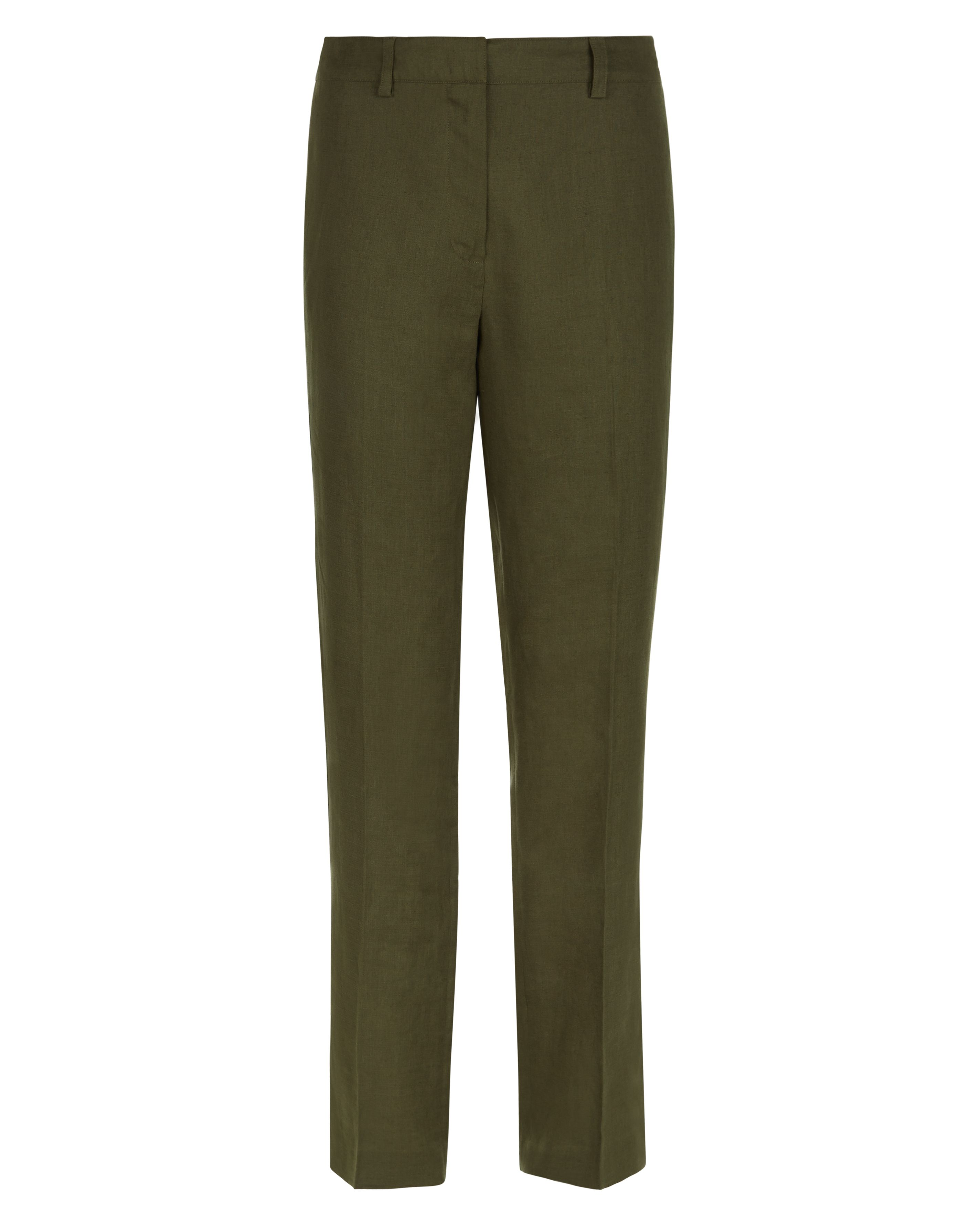Jaeger Parallel Linen Trousers, Green