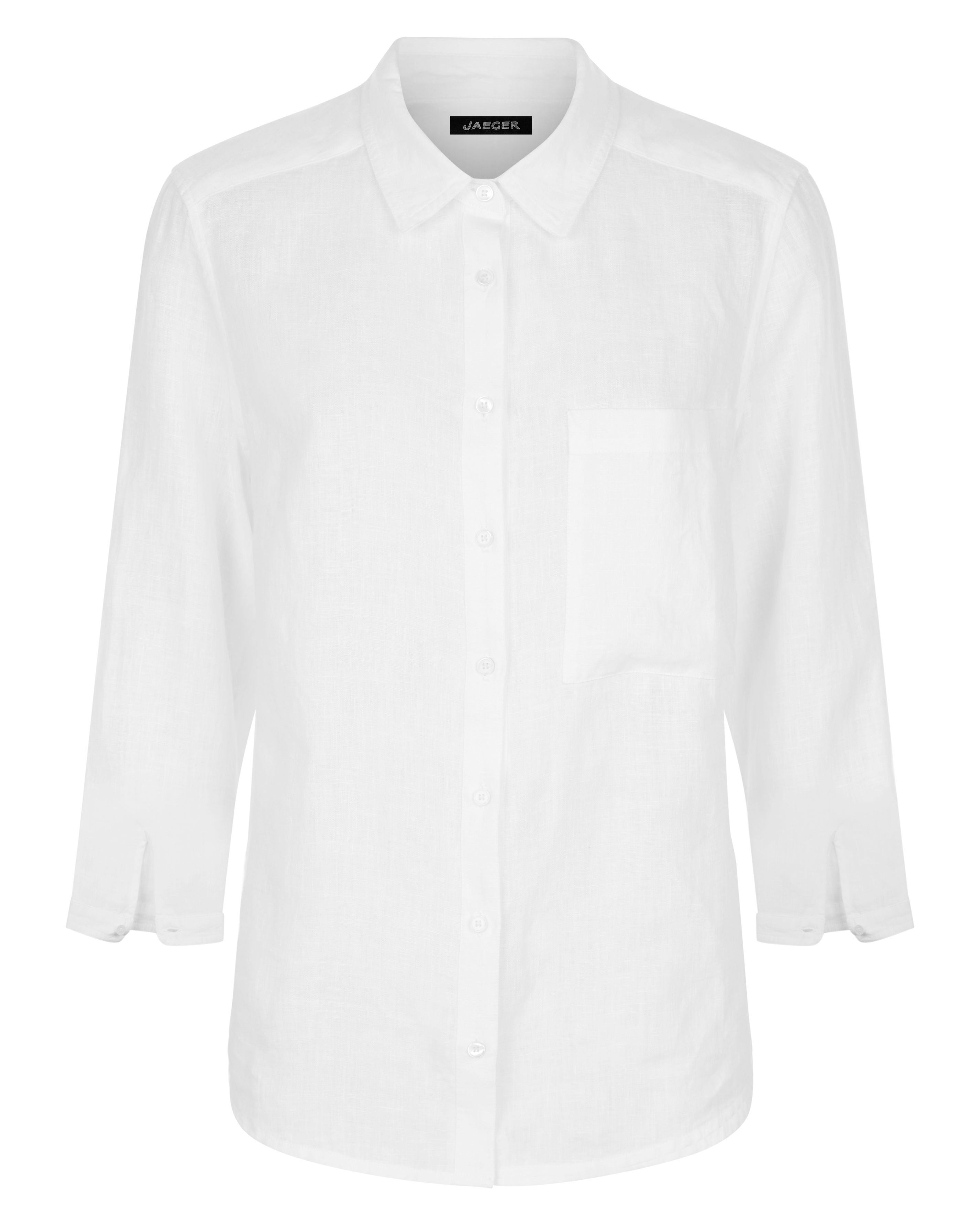 Jaeger Linen Roll Sleeve Shirt, White