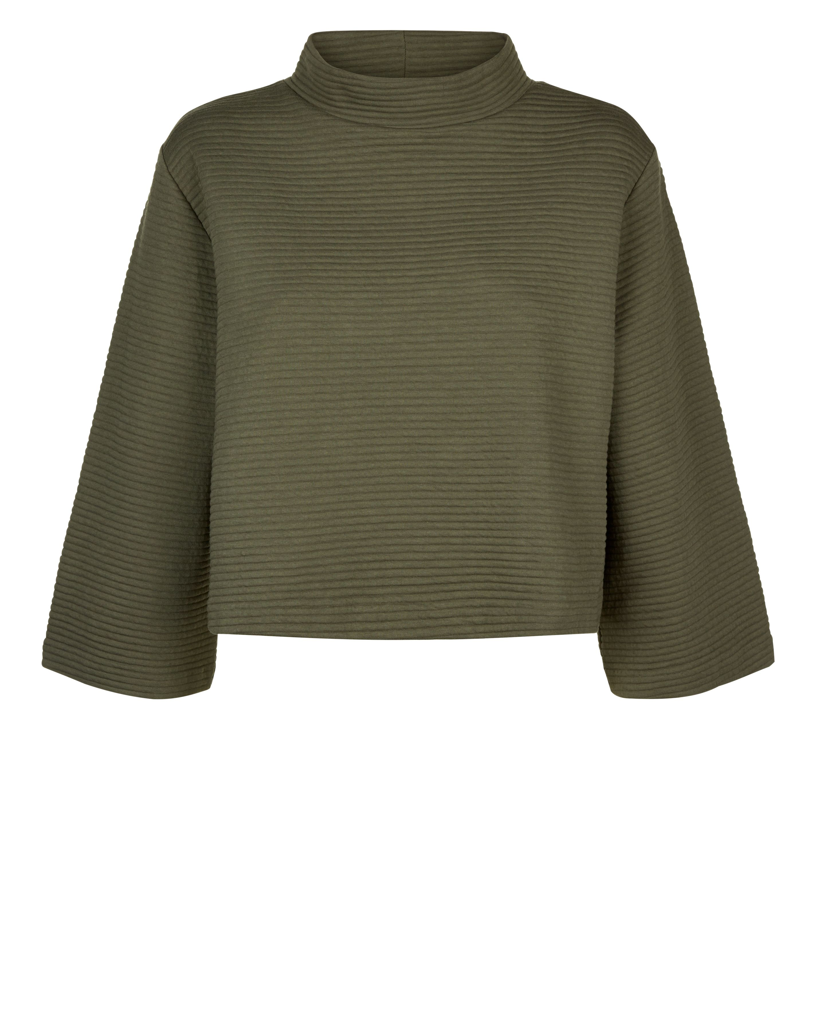 Jaeger Jersey Rib Funnel Neck Top, Green