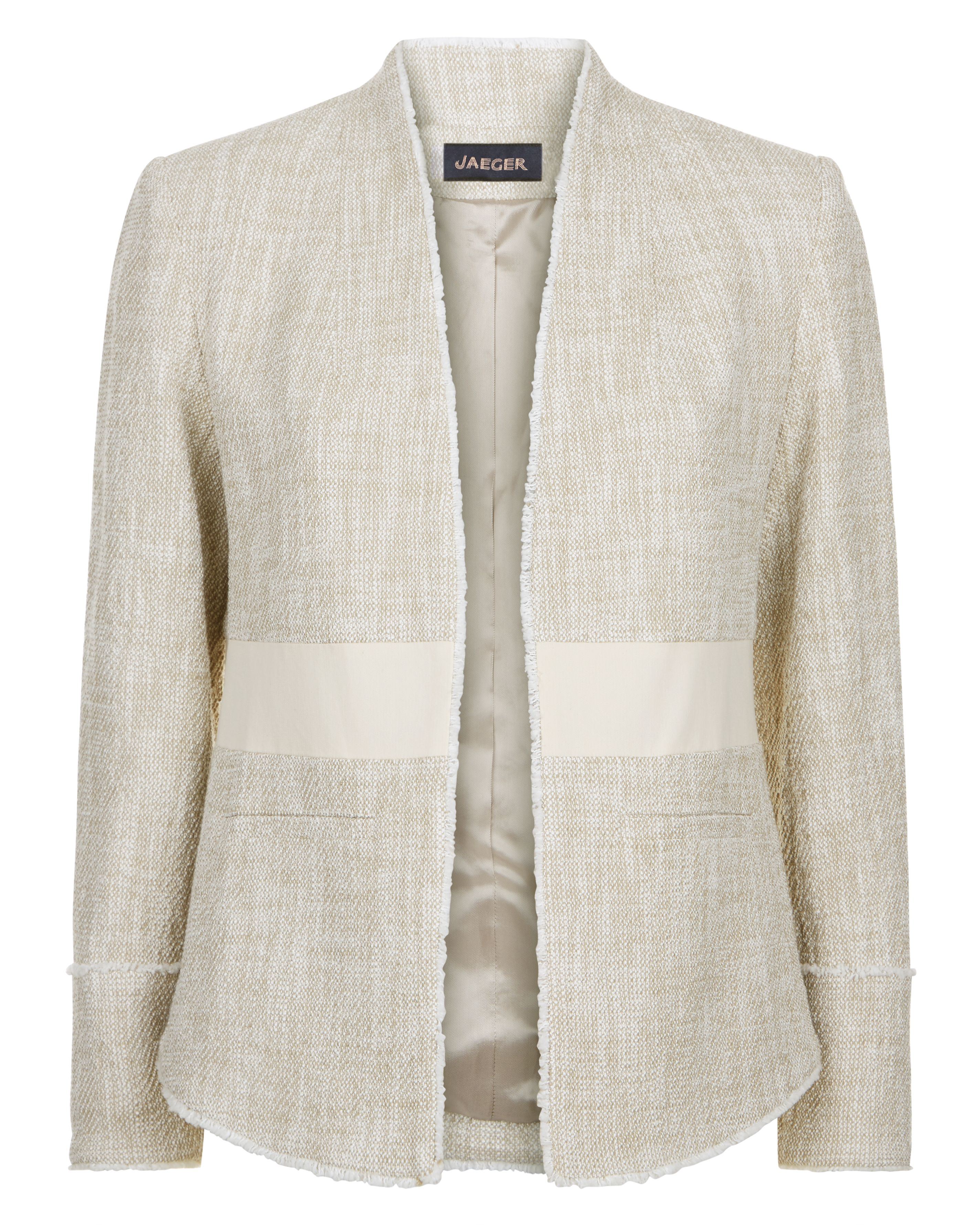 Jaeger Cotton Tweed Tailored Jacket, Neutral