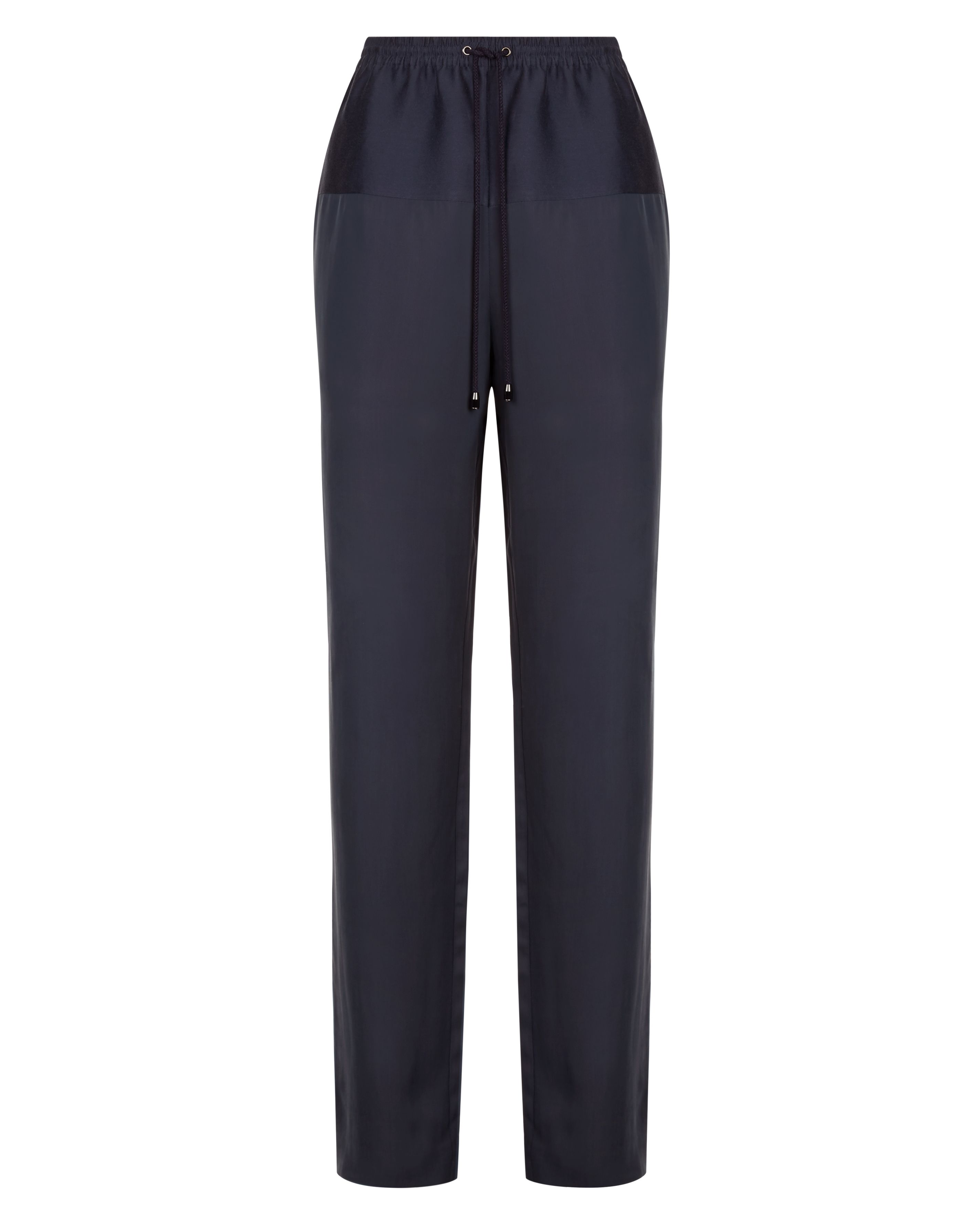 Jaeger Contrast Fabric Trousers, Blue