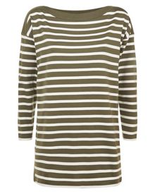 Jaeger Cotton Boat Neck Stripe Tunic