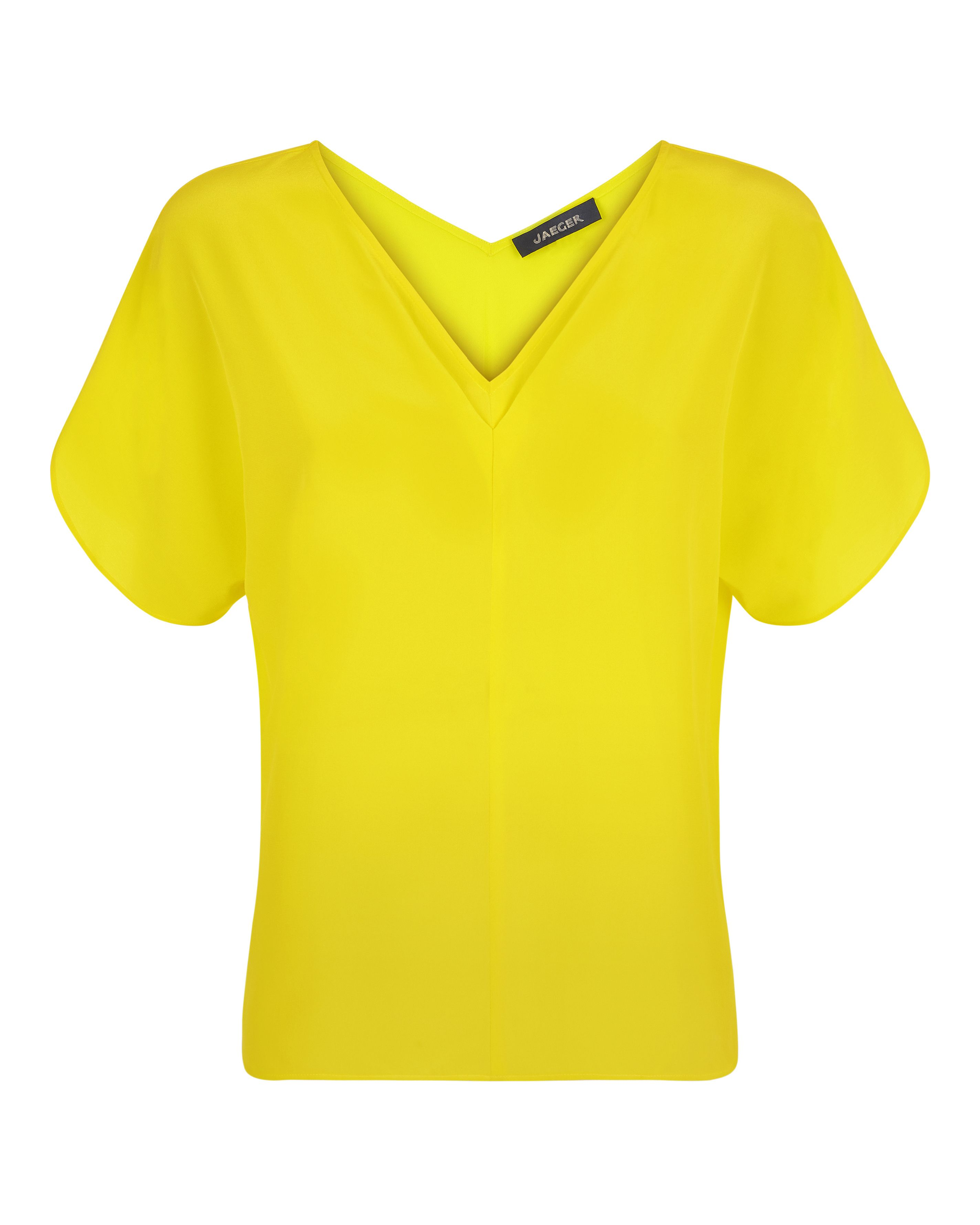 Jaeger Silk V-Neck Tuck Detail Top, Yellow