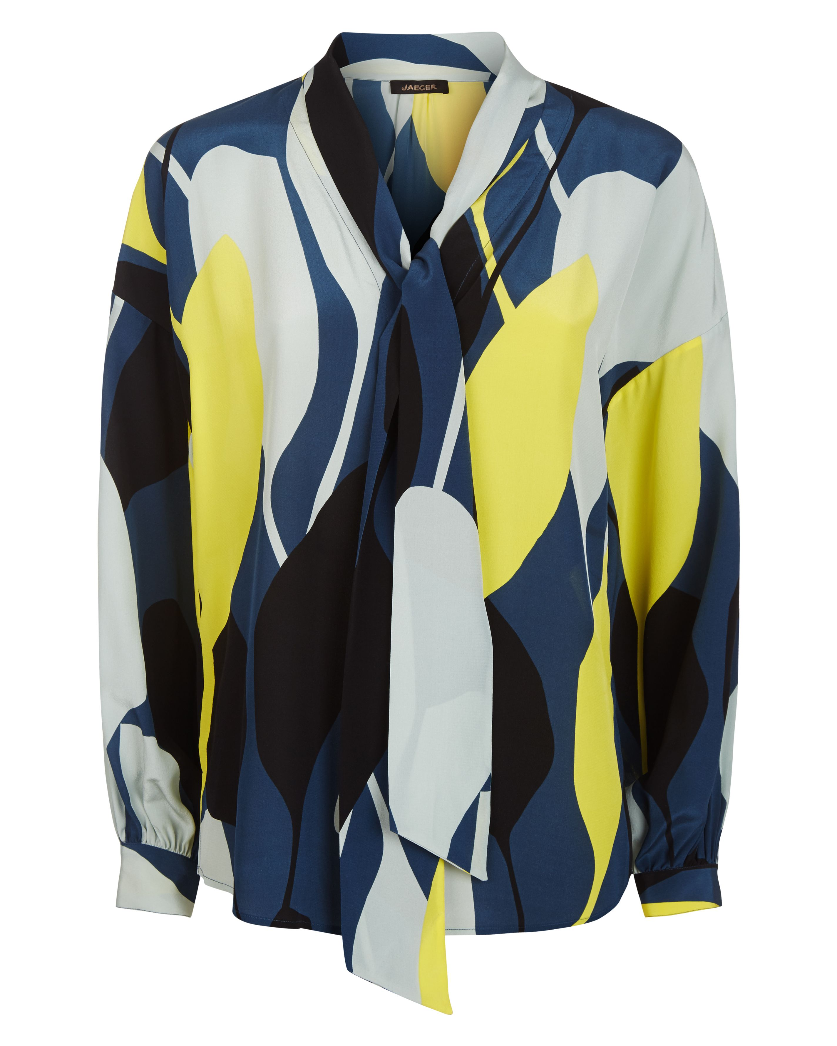 Jaeger Silk Graphic Floral Blouse, Multi-Coloured