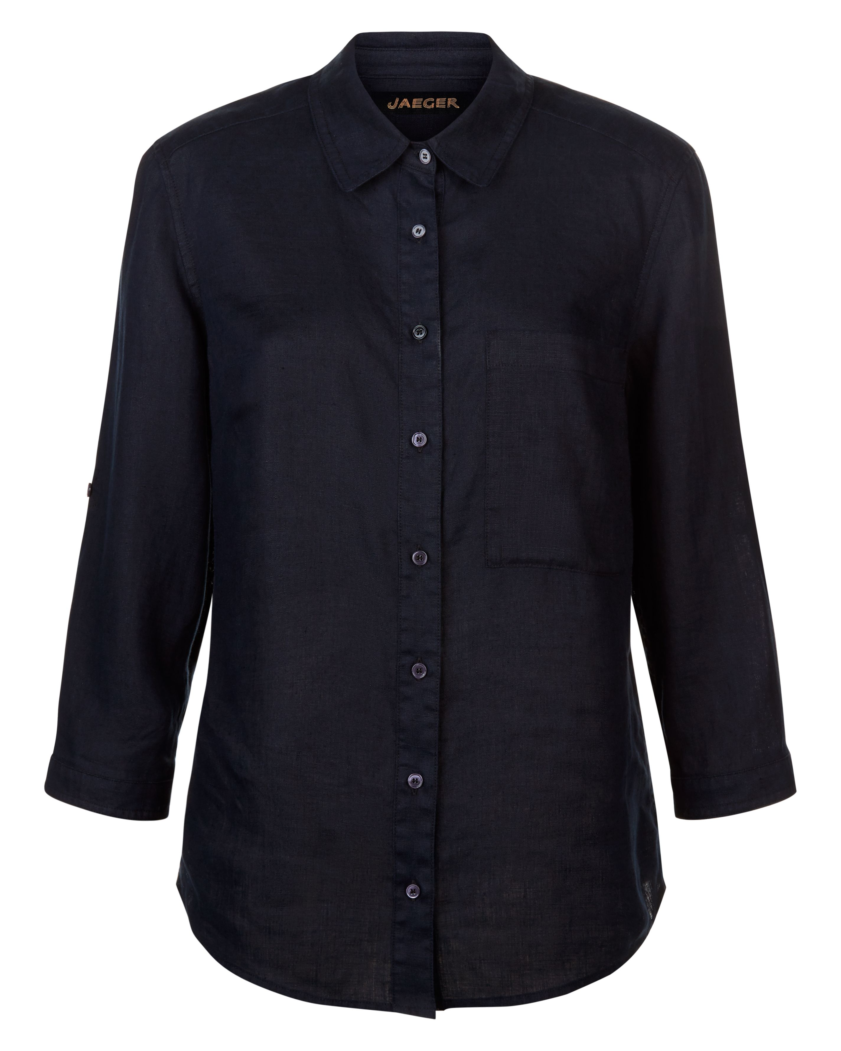 Jaeger Linen Roll Sleeve Shirt, Blue