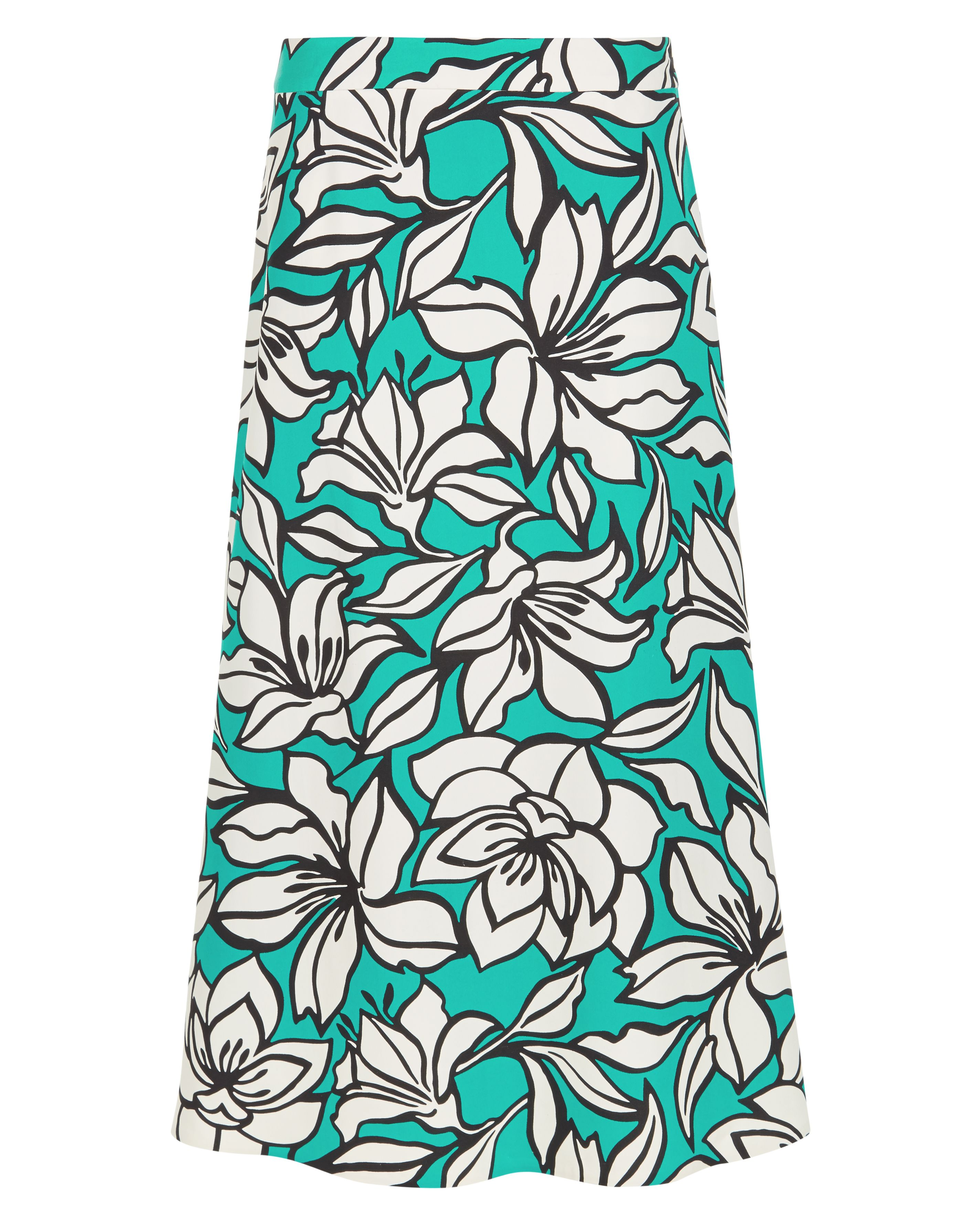Jaeger Floral Printed A-line Skirt, Green