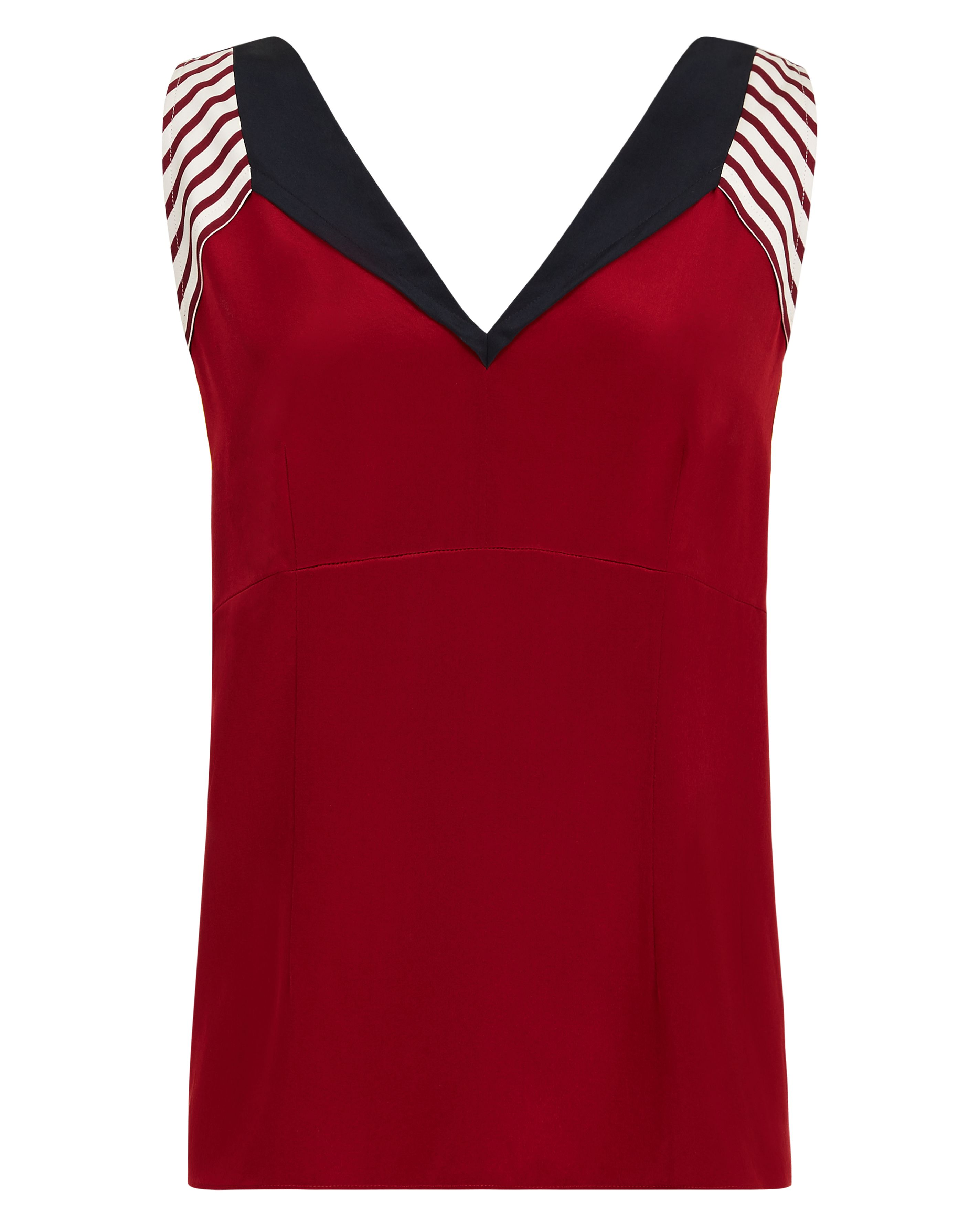 Jaeger Silk Colour Block Panel Top, Red