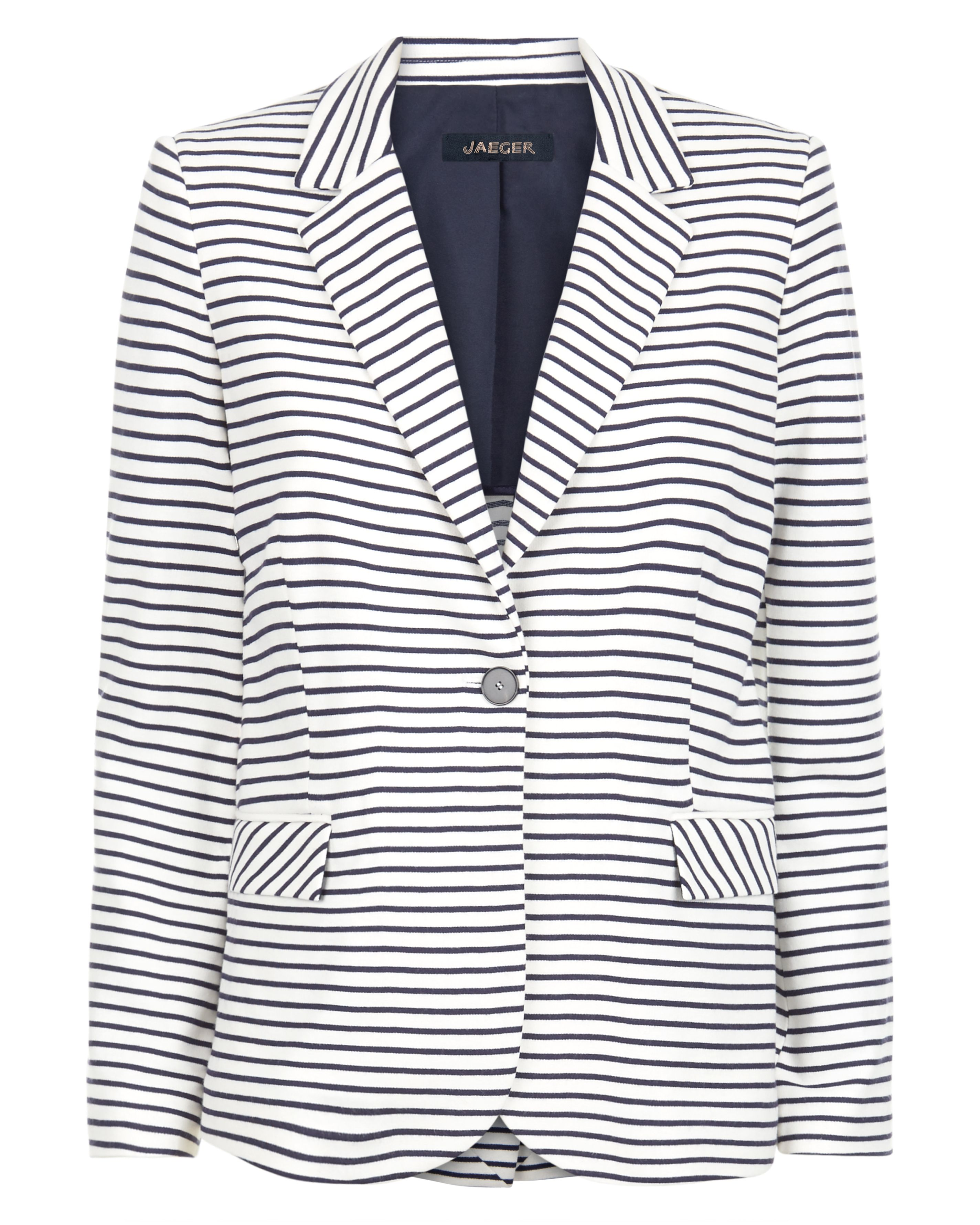 Jaeger Jersey Striped Blazer, White