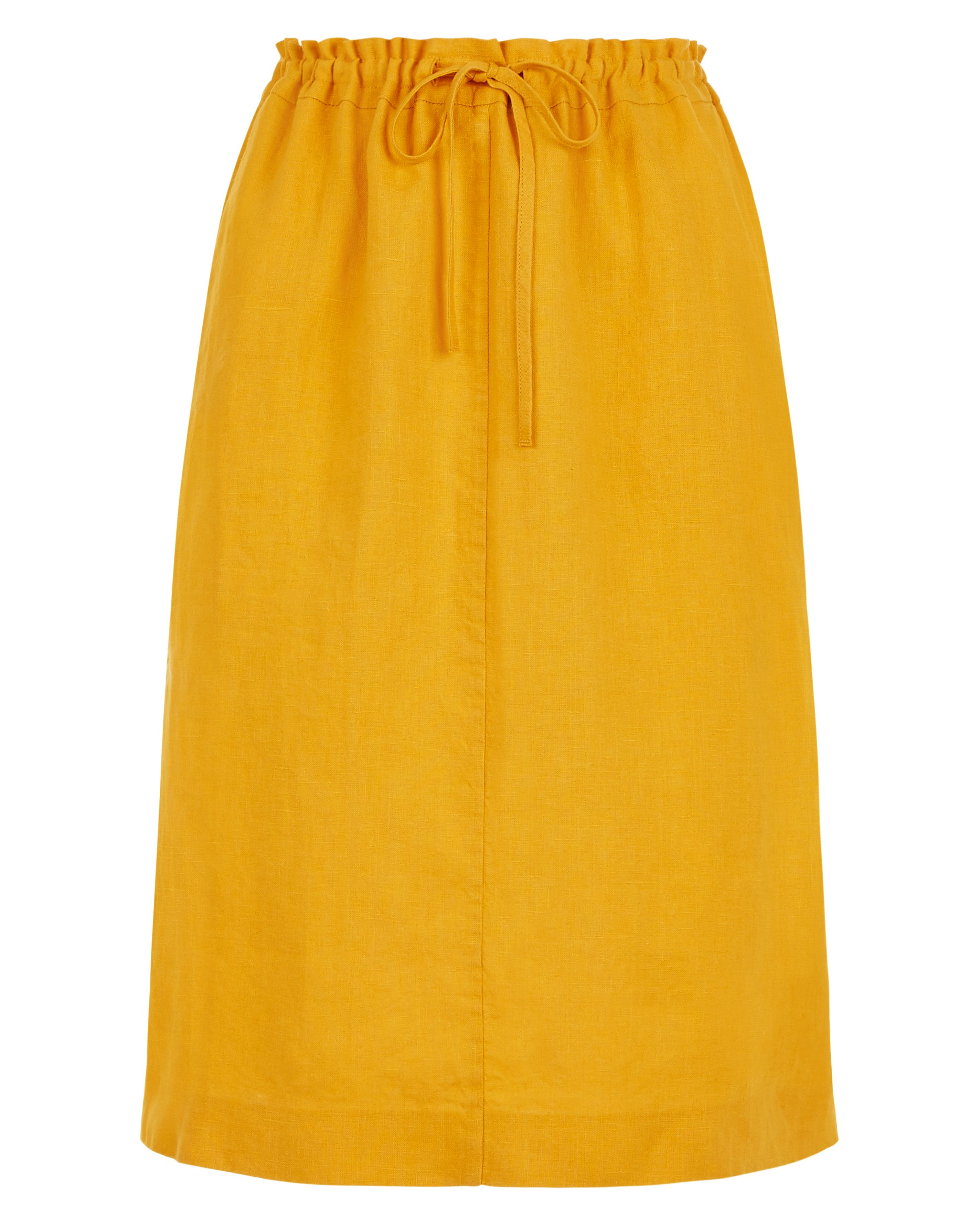 Jaeger Linen Paper Bag Pencil Skirt, Yellow
