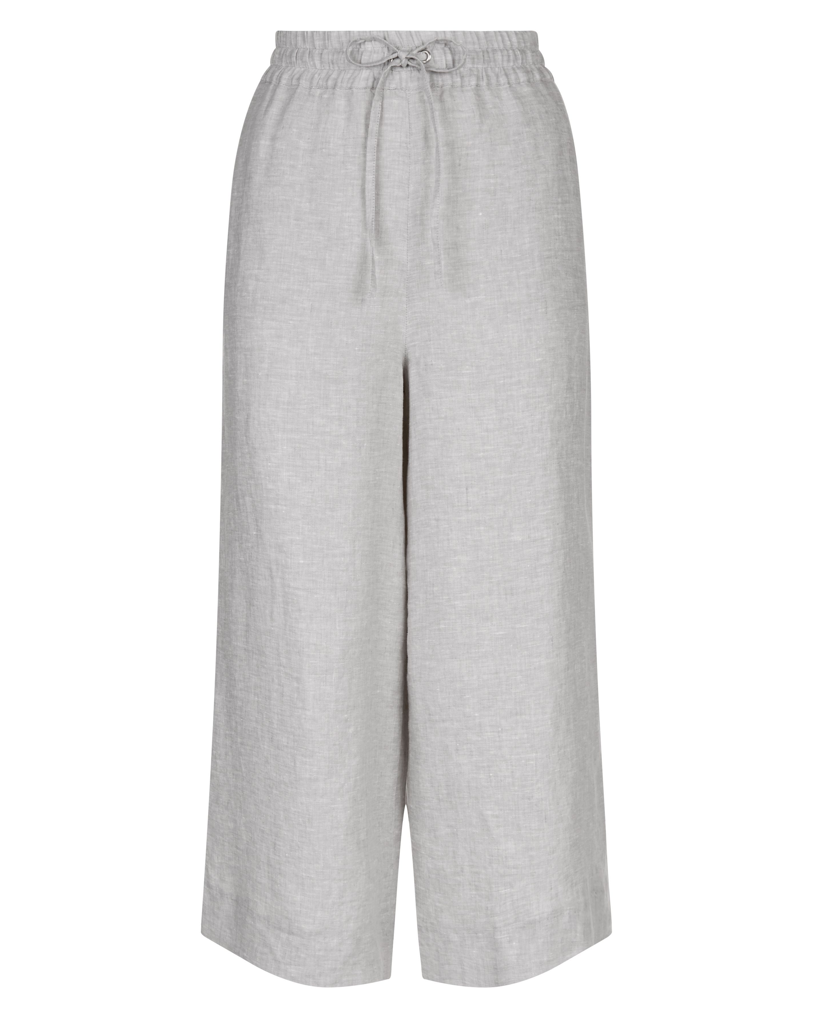 Jaeger Linen Wide Cropped Trousers, Grey