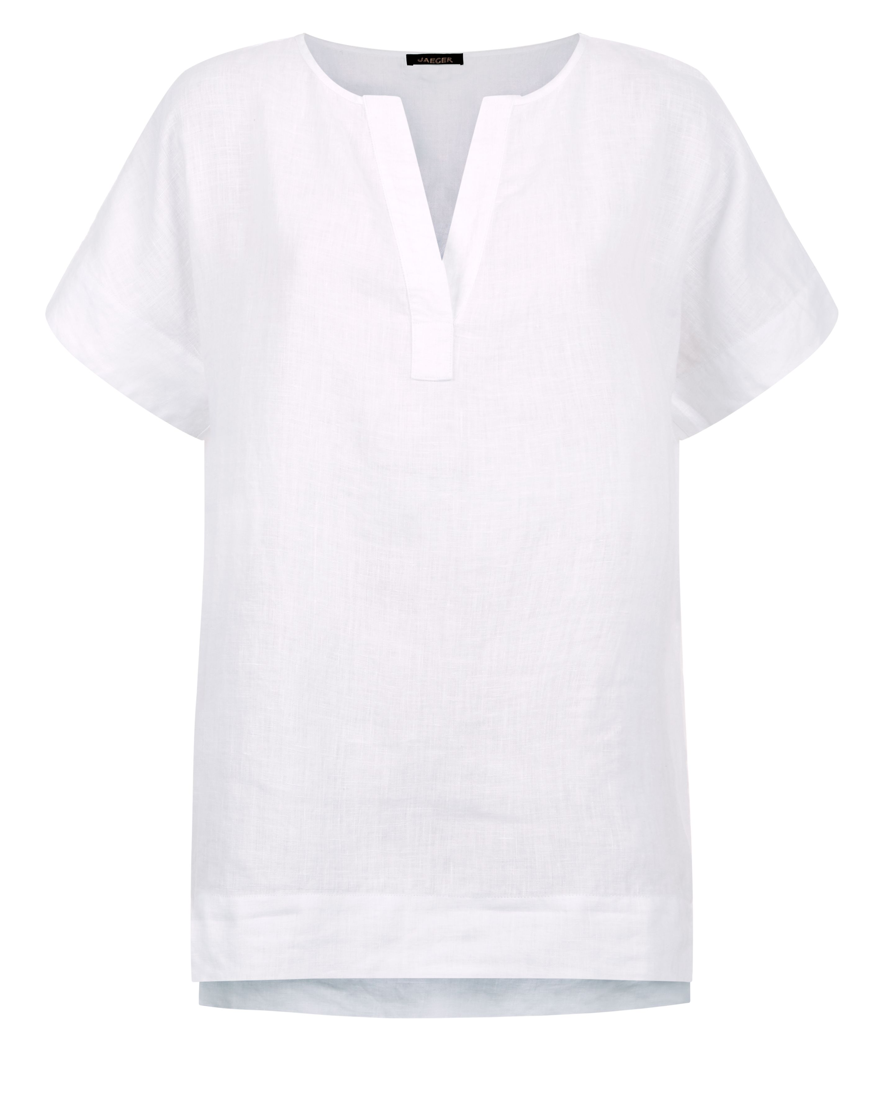 Jaeger Linen Split Sleeve T-Shirt, White
