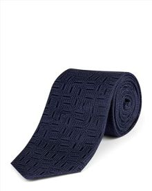 Jaeger Silk Textured Geometric Tie