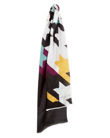 Jaeger Silk Houndstooth Print Scarf