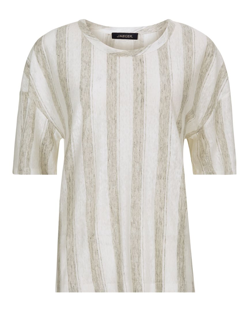 Jaeger V Neck Stripe Linen T-Shirt, Multi-Coloured