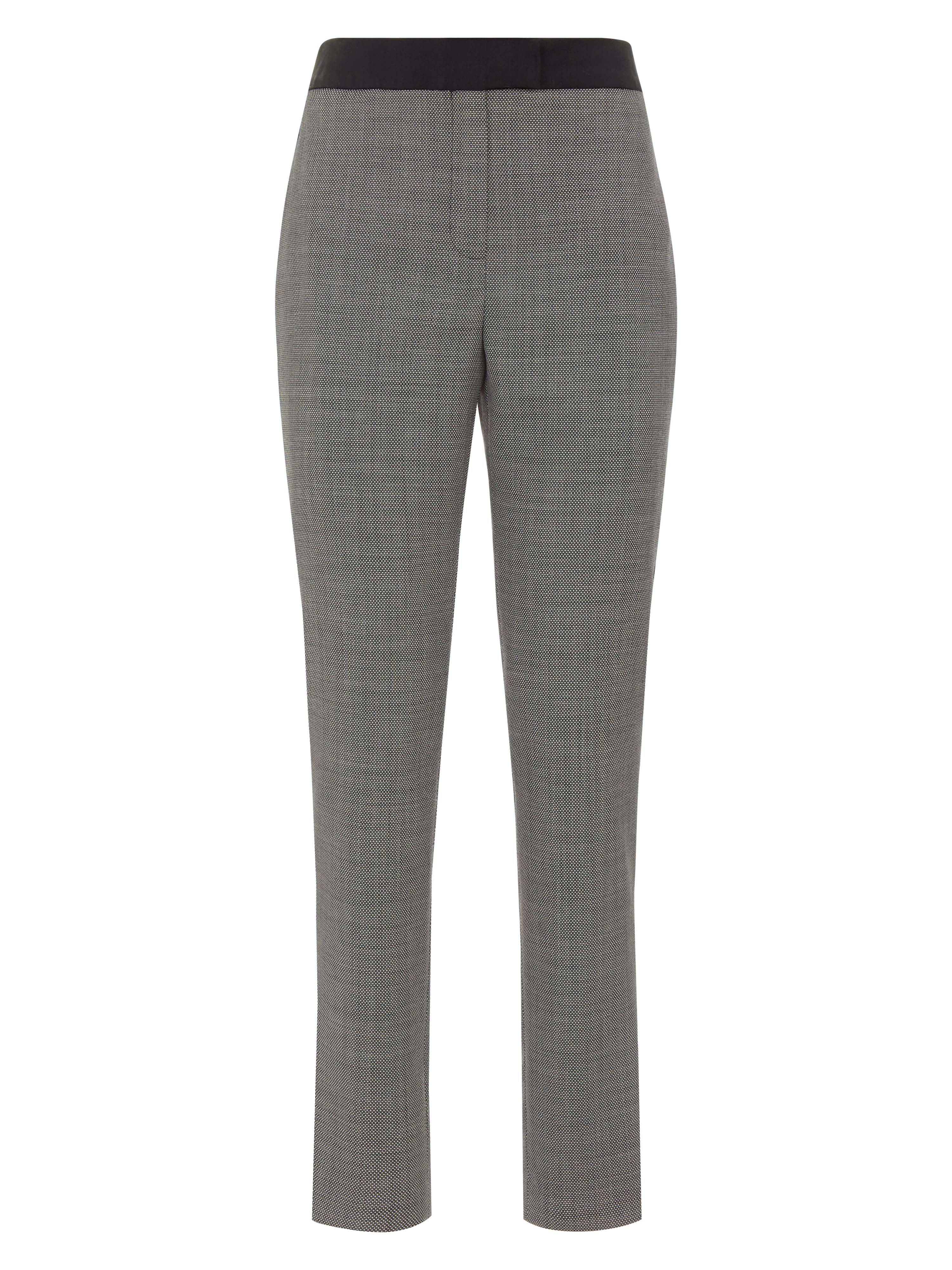 Jaeger Birdseye Piped Cigarette Trouser, Charcoal