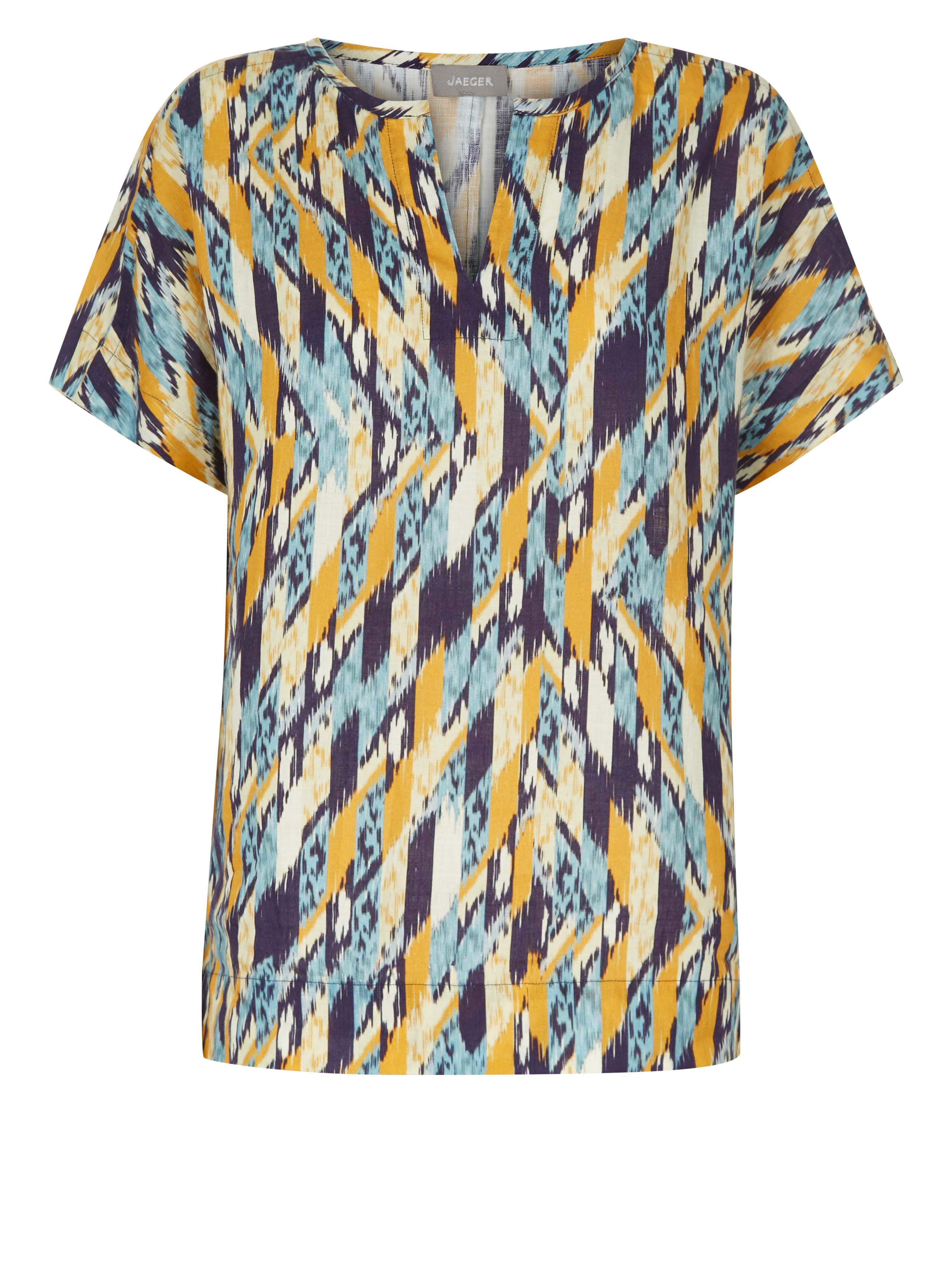 Jaeger Abstract Check Printed Linen T-Shirt, Multi-Coloured