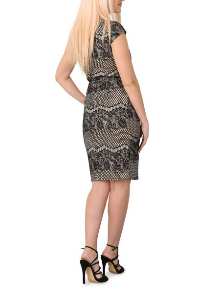Izabel London Cap Sleeve Lace Midi Dress