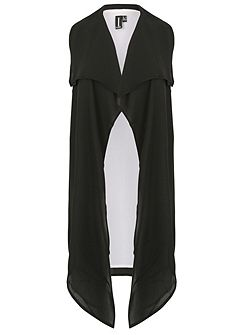 Sleeveless Contrast Duster Coat