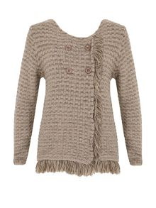 Izabel London Fringe Trim Cardigan
