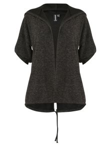 Izabel London Roll-Sleeve Hooded Cardigan