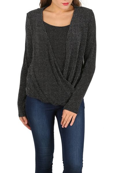 Izabel London Wrap Drape Shimmer Top