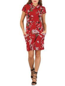 Izabel London Floral Print Roll Neck Knit Dress
