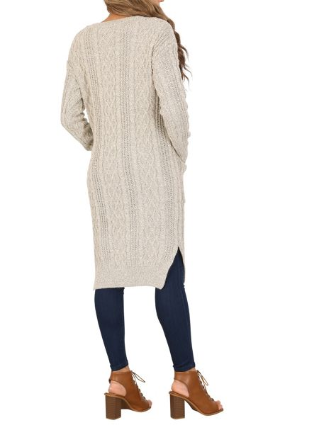 Izabel London Chunky Knit Long Cable Jumper