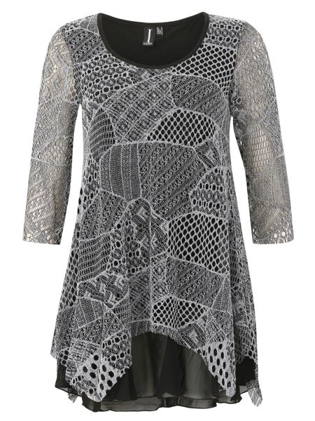 Izabel London Multi-Pattern Net Dress With Tiered Hem