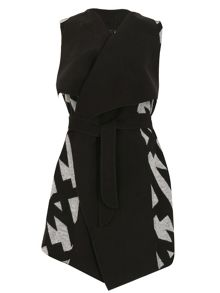 Izabel London Oversize Collar Sleeveless Jacket