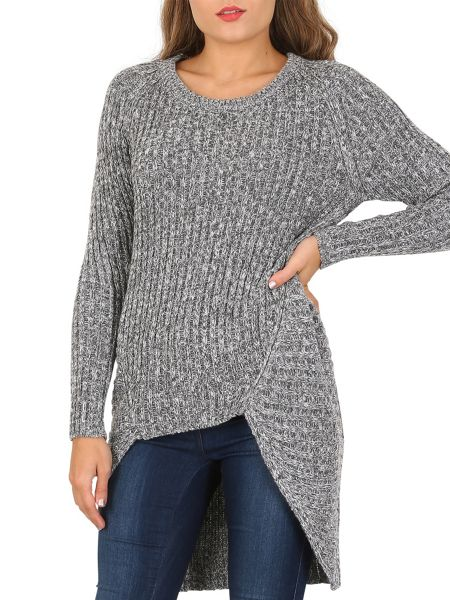 Izabel London Dip Hem Rib Jumper