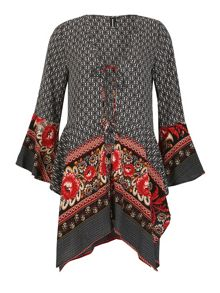 Izabel London Tie-Fronted Kaftan Top