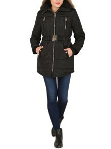 Izabel London Faux-Fur Collar Padded Coat