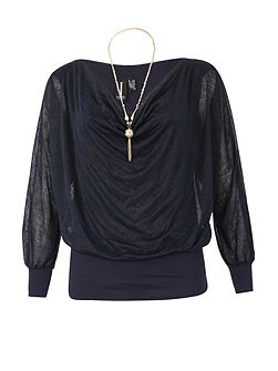Cowl Neck Top With Necklace
