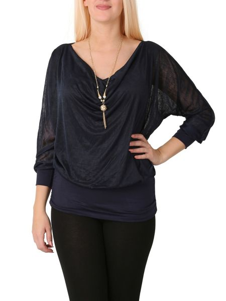 Izabel London Cowl Neck Top With Necklace