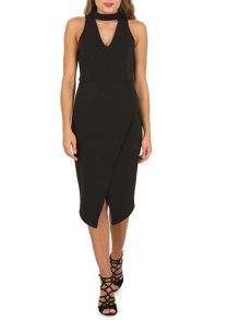 Izabel London Choker Neck Wrap Dress
