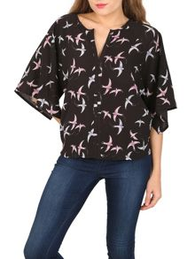 Izabel London Swallow Print Blouse
