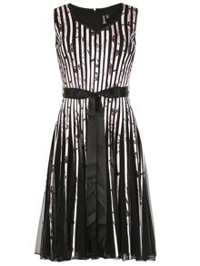 Izabel London Ribbon and Mesh Midi Dress