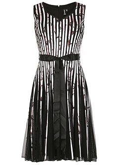 Ribbon and Mesh Midi Dress