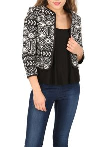 Izabel London Aztec Print Crop Jacket