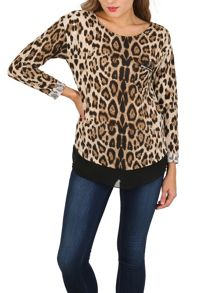 Izabel London Contrast Hem Leopard Top